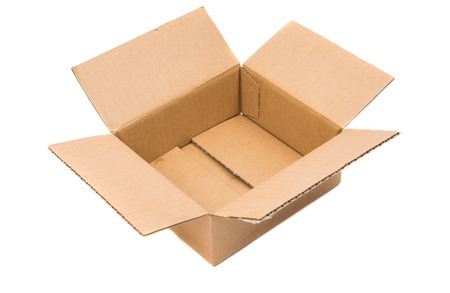 ship with gift: open cardboard box on a white background