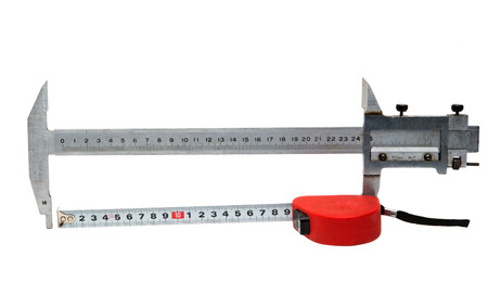 cintas metricas: caliper with a tape measure on a white background