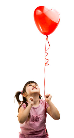 balloon love: portrait of a girl with red heart balloon on a white background