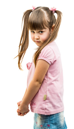offended: portrait of a little offended girl on a white background