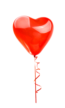 heart white: red balloon heart isolated on white background