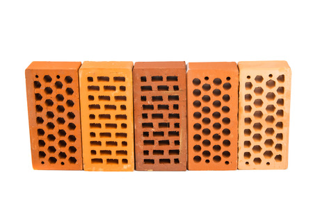 porous brick: Red brick isolated on a white background. Stock Photo