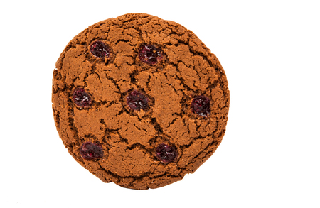 sectioned: large cookies with a cherry on a white background