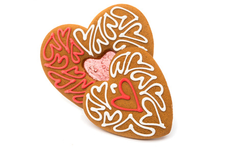 teacake: Cookies hearts isolated white background