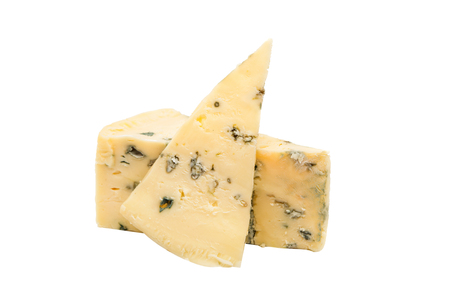 unpleasant smell: British blue cheese (Stilton) isolated on a white studio background.
