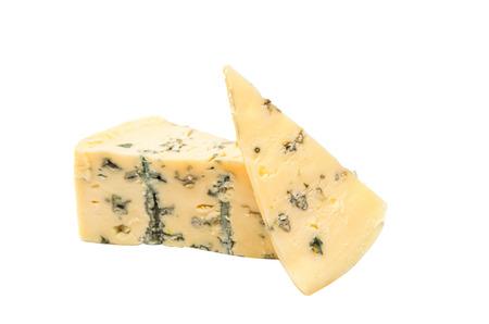 stilton: British blue cheese (Stilton) isolated on a white studio background.