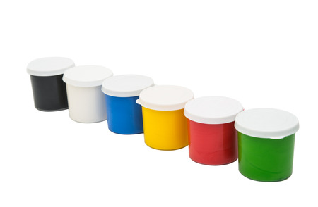 buckets: Watercolor paint in buckets isolated on white background. Art palette. Colorful paint. Gouache in the jar. Stock Photo