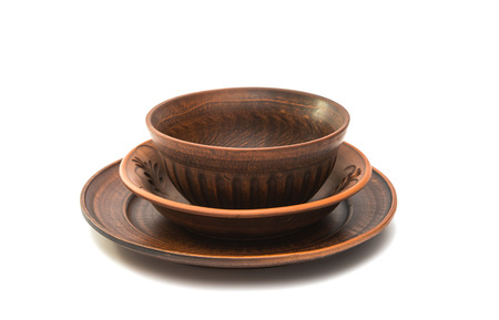 earthenware: earthenware dish on a white background Stock Photo