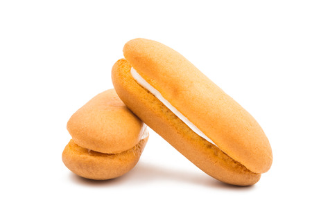 biscuts: biscuit sandwich with cream on a white background