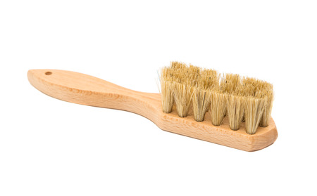 broom handle: Wooden clothes brush isolated on white background