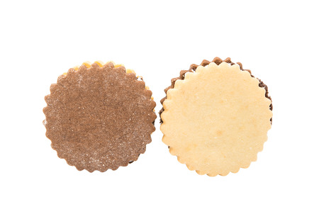 biscuts: Sandwich cookies with chocolate on a white background Stock Photo