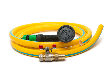 plastic conduit: garden hose with a sprayer on a white background