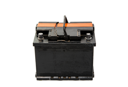 12v: car battery isolated on a white background