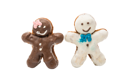 glaze: cookies man in the glaze on a white background Stock Photo