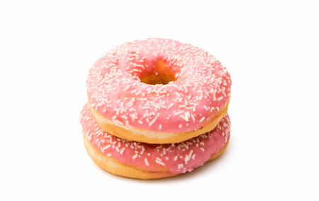 glaze: pink donut glaze on a white background