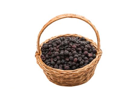 black raspberries: black raspberries in a basket on a white background