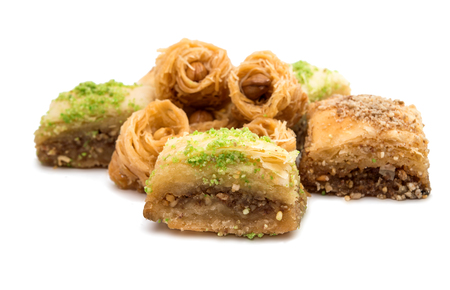 baklava: baklava with walnuts on a white background
