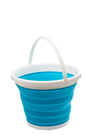 bushel: blue rubber bucket white background