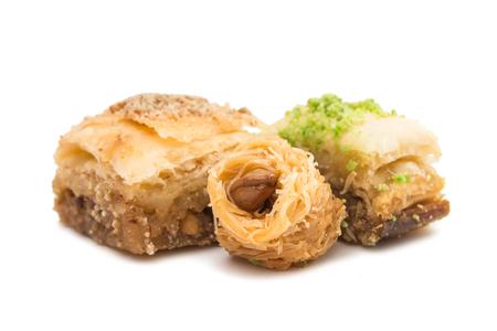 baklava: baklava on a white background Stock Photo