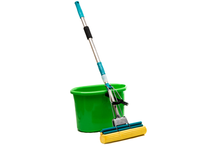 broom handle: Mop with a bucket on a white background Stock Photo