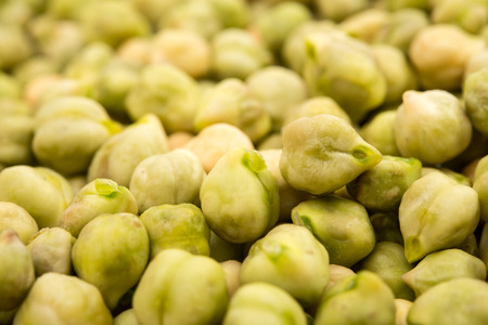 close up food: square food background - raw chickpeas close up