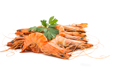 Tiger shrimps with lemon slice . Seafood. Stock Photo