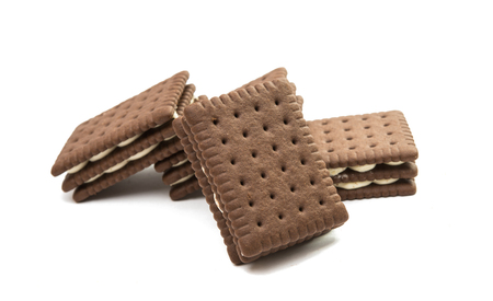 filled: biscuit sandwich crackers on a white background Stock Photo