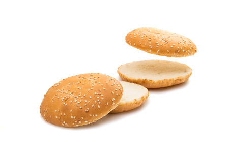bun with sesame hamburger on a white background Stock Photo