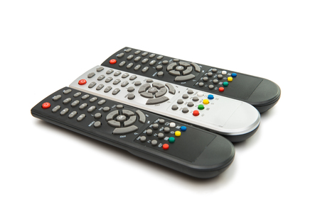 TV remotes isolated on white background