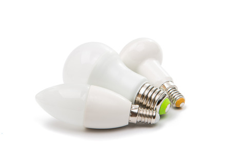 LED light bulbs on a white background