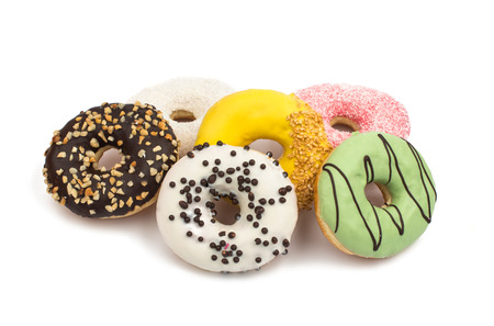 glaze: donuts in color glaze isolated on white background Stock Photo