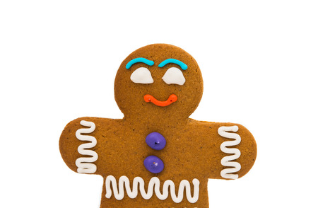 gingerbread man: Gingerbread man on white background Stock Photo