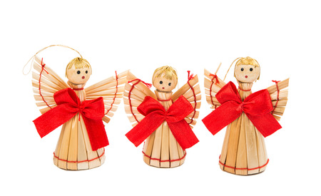 christmas decorations with white background: straw Christmas decorations on a white background