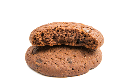 choco chips: chocolate chip cookie with drops on a white background