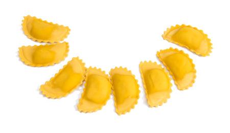raviolo: Ravioli pasta isolated over white background.