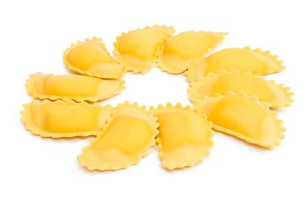 raviolo: ravioli on a white background