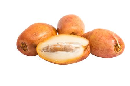 Fresh fruit dates on a white background