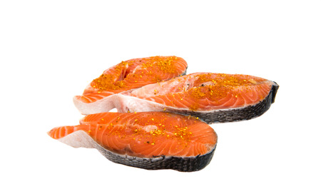 Fresh sliced salmon fish. Isolated on a white background. Stock Photo