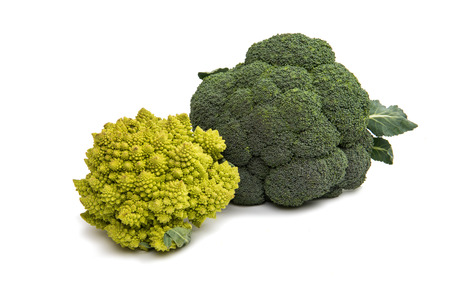 Romanesco cabbage on a white background