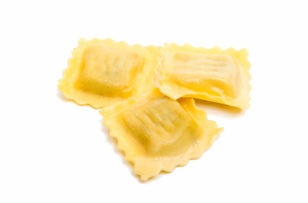 raviolo: ravioli isolated on white background Stock Photo