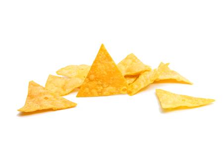 tortilla de maiz: potato chips isolated on white background