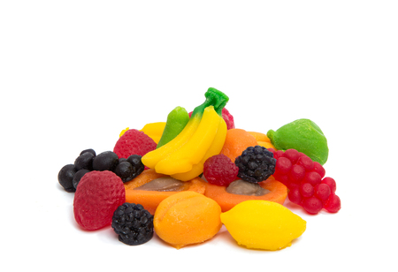 favor: jelly fruits on white background Stock Photo