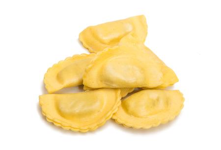 tortellini: italian Ravioli pasta isolated over white background. Stock Photo