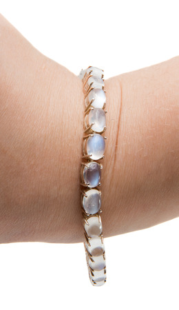 moonstone bracelet with a white background Stock Photo