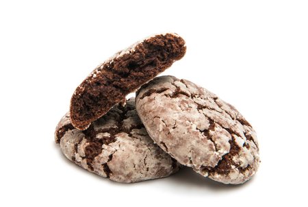 Chocolate cookies isolated on white background