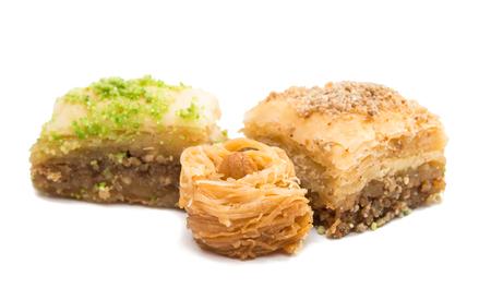 Honey baklava isolated on white background Stock Photo