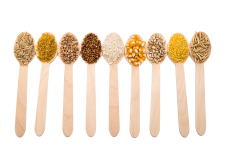 sorgo: Conjunto de cereales aislados sobre fondo blanco Foto de archivo