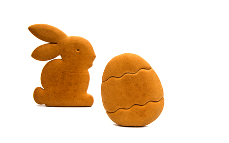 gingerbread: bunny cookies isolated on white background