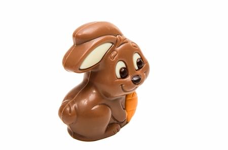 indulgence: Chocolate easter bunny isolated on white background