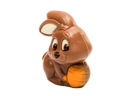eastertime: Chocolate easter bunny isolated on white background